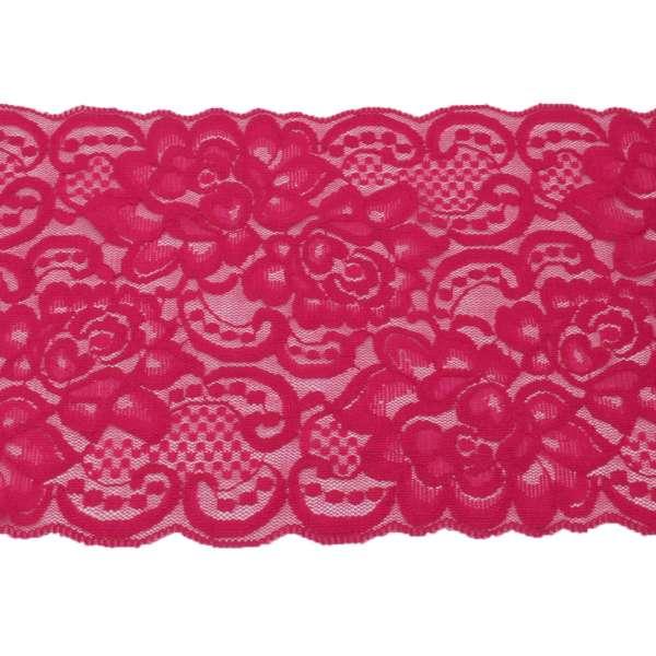 Кружево стрейч розы 175мм малиновое