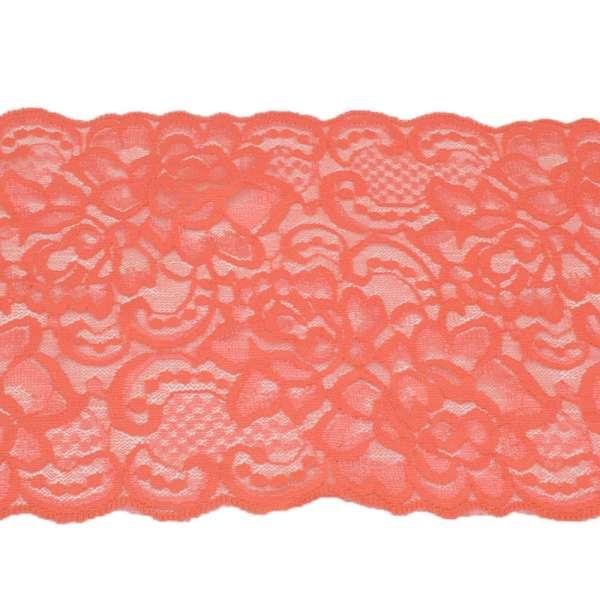 Кружево стрейч розы 175мм коралловое