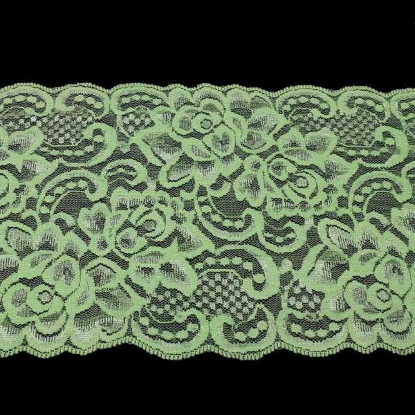 Кружево стрейч розы 175мм салатовое