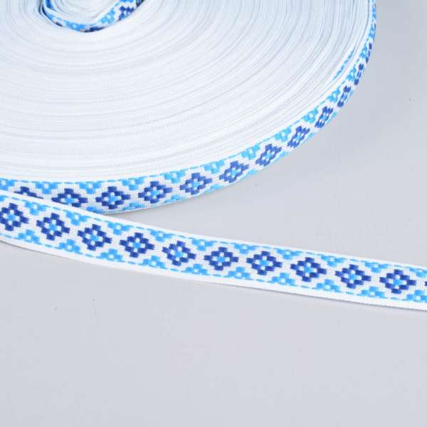 Стрічка оздоблювальна біла с орнаментом 15мм синя 13В19Г27