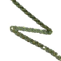 Тесьма с пайетками волна 15мм зеленая