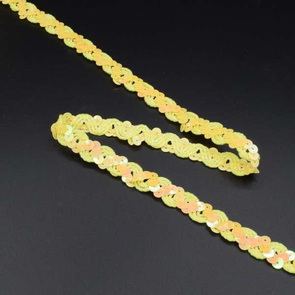 Тесьма с пайетками волна 15мм желтая
