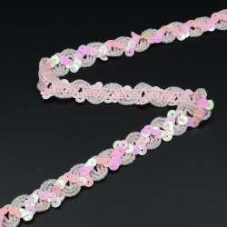 Тесьма с пайетками волна 15мм розовая