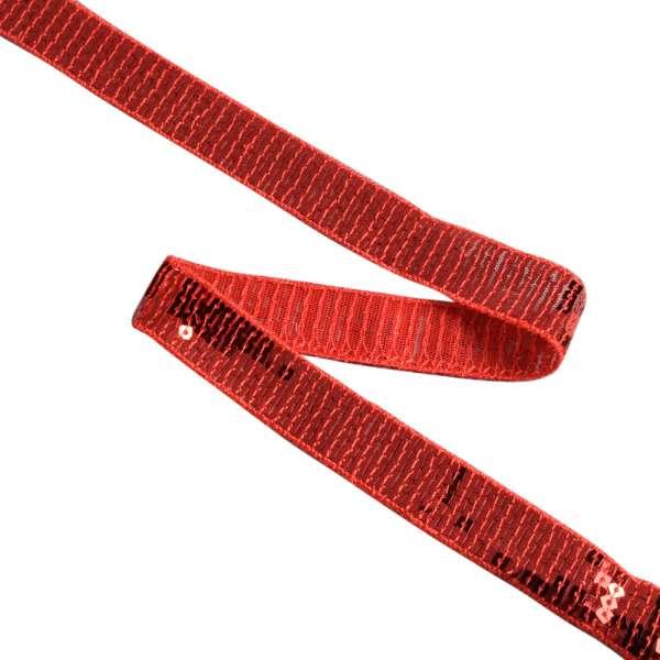 Тесьма с пайетками 20мм красная