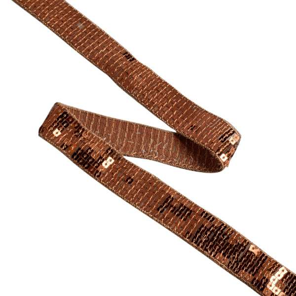 Тесьма с пайетками 20мм коричневая светлая