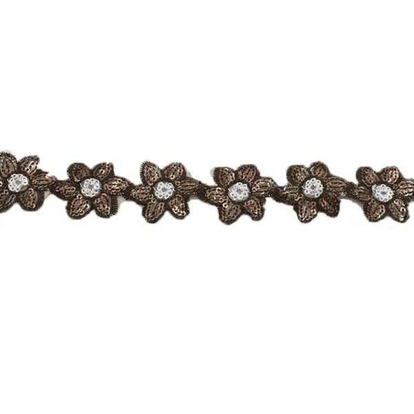 Тесьма пришивная с пайетками на капроне цветы 3.5 см и волны 3см -волны цветы3.5 см