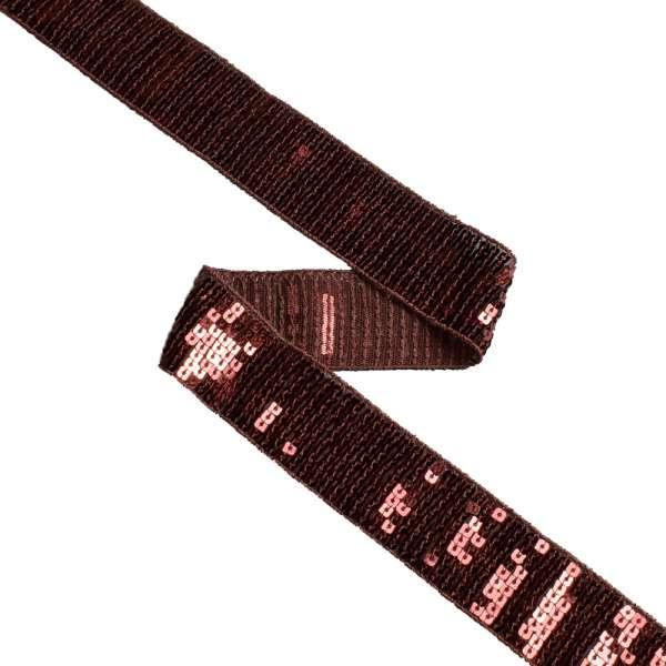 Тесьма с пайетками 35 мм коричневая