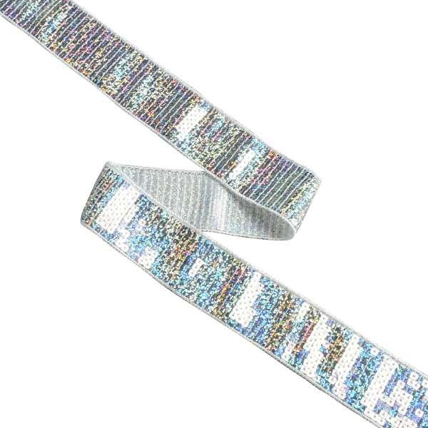 Тесьма с пайетками 35мм голограмма серебро