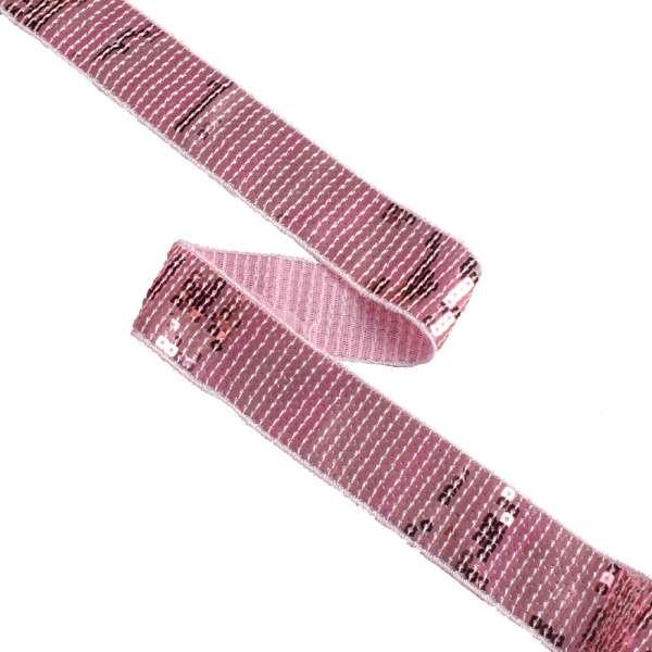 Тесьма с пайетками 35мм розовая