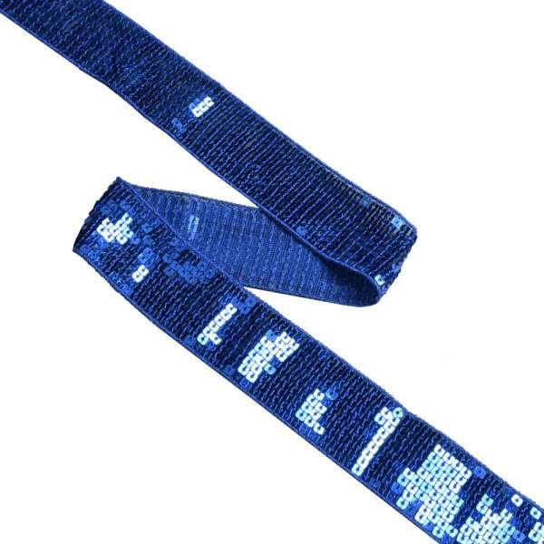 Тесьма с пайетками 35мм синяя