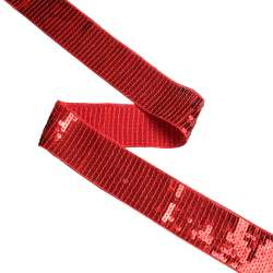 Тесьма с пайетками 35мм красная