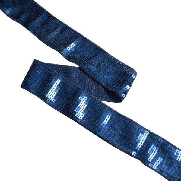Тесьма с пайетками 35мм синяя темная