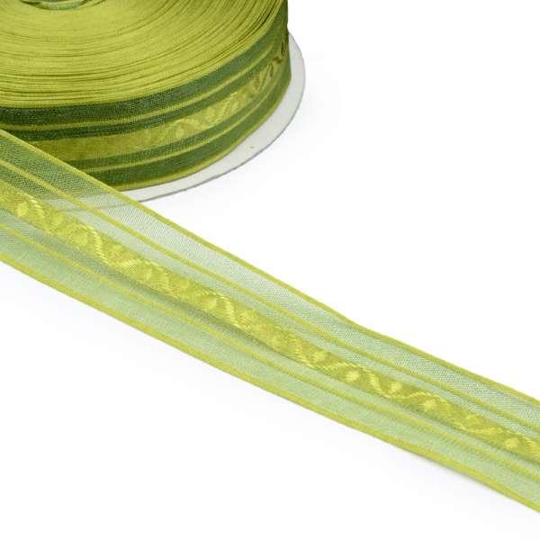 Лента капроновая жаккардовая 30мм зеленая оливковая