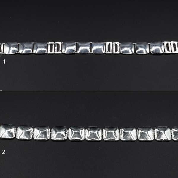 Тесьма металлическая под серебро квадраты