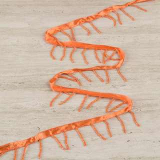 Бахрома бисерная на атласной ленте оранжевая, оранжевый бисер