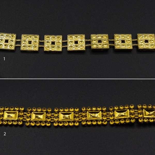 Тесьма пластик прямоугольники золотистые, серебристые