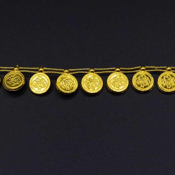 Тесьма пластик монетка плетеная золотистая