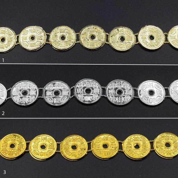 Тесьма пластик монетки свето-золотистая, серебристая, золотистая