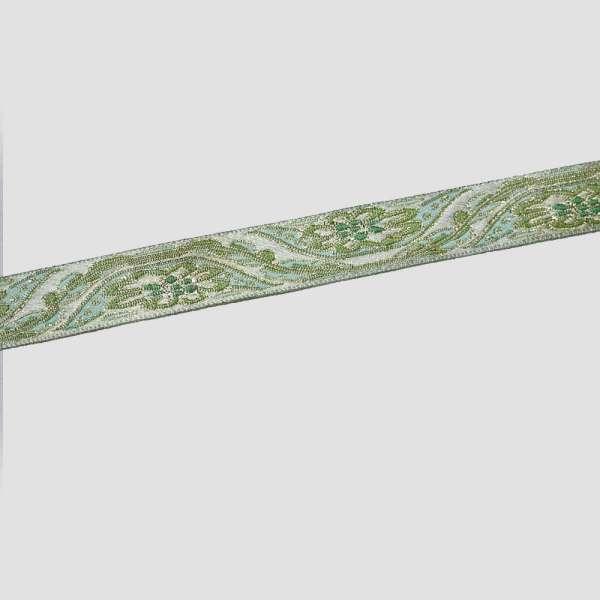 Тесьма отделочная с люрексом 15мм бирюзово-зеленая с золотом