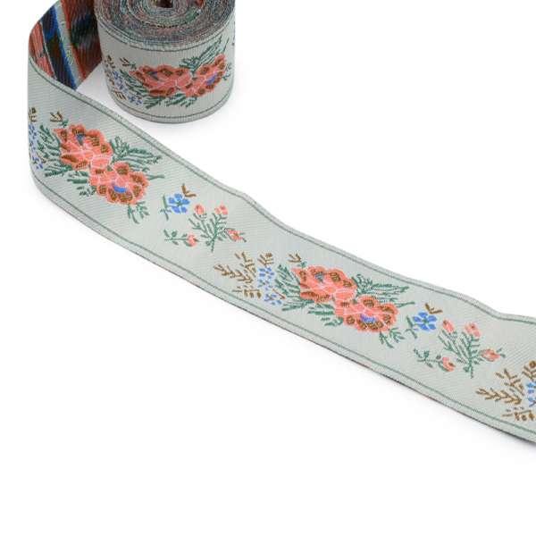 Тесьма серая с цветами 3,7 см