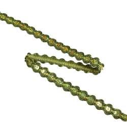 Тесьма с пайетками плетеная 15мм темно-зеленая