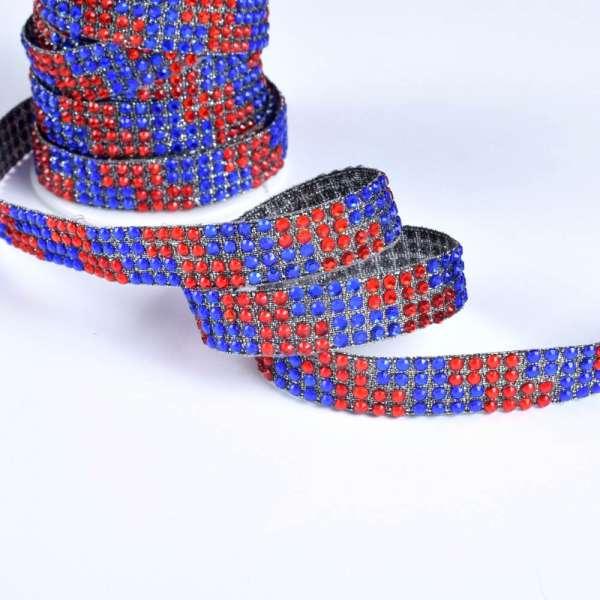 Тесьма отделочная клеевая со стразами 13 см красно-синяя