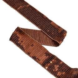 Тесьма с пайетками 40мм коричневая светлая