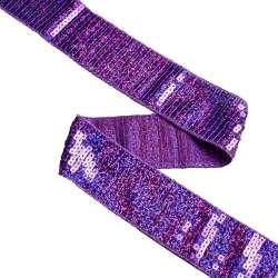 Тесьма с пайетками 40мм фиолетовая