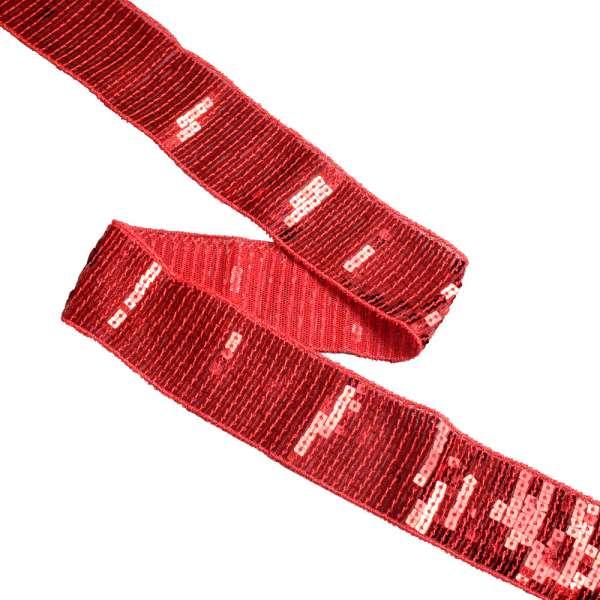 Тесьма с пайетками 40мм красная