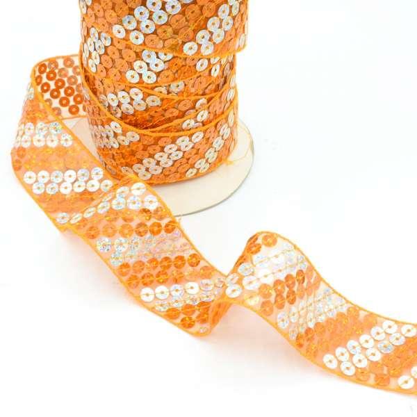 Тесьма с пайетками на капроне 40мм оранжево-серебристая