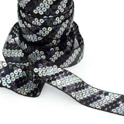 Тесьма с пайетками на капроне 40мм черно-серебристая
