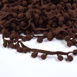 Тесьма с помпонами 10мм коричневая