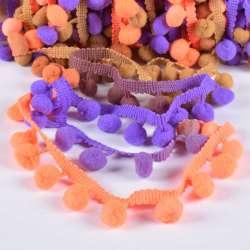 Тесьма с помпонами 10мм радуга (фиолетовый, оранжевый, бежевый)