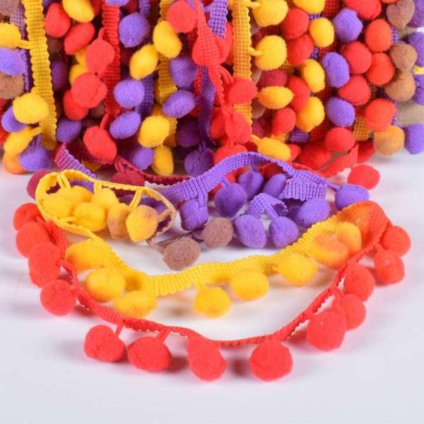 Тесьма с помпонами 10мм радуга (фиолетовый, желтый, красный, бордовый)
