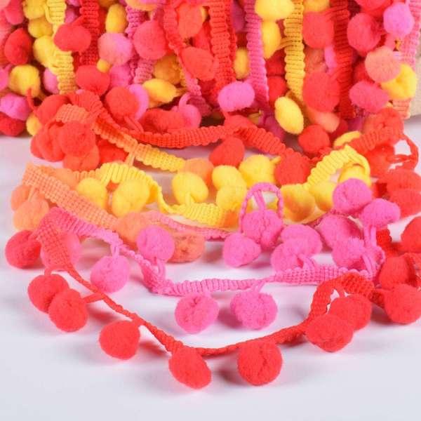 Тесьма с помпонами 10мм радуга (оранжевый, желтый, красный, розовый)
