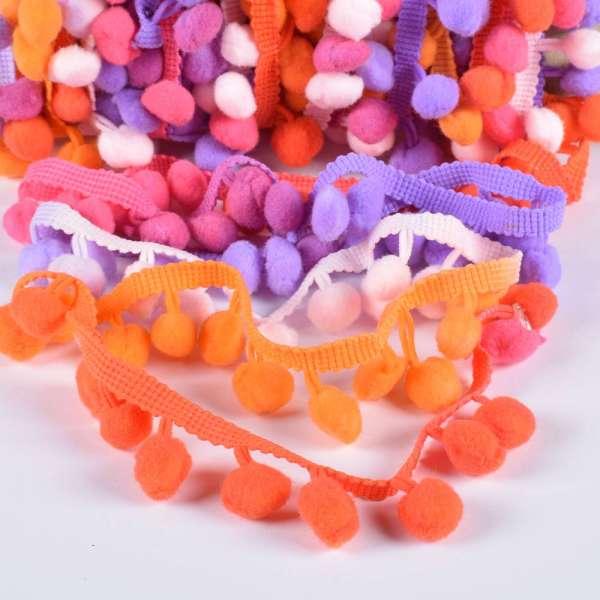 Тесьма с помпонами 10мм радуга (малиновый, оранжевый, фиолетовый, розовый)
