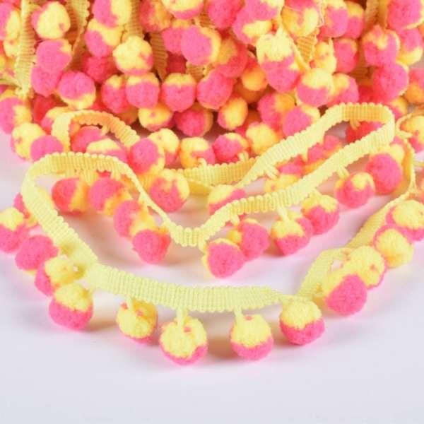 Тесьма с помпонами 10мм желтая, желто-розовые помпоны