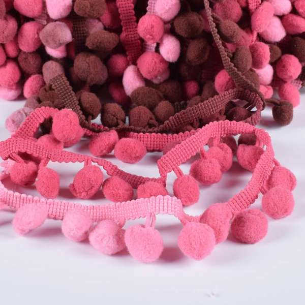 Тесьма с помпонами 10мм радуга (розовый, коричневый, фрезовый)