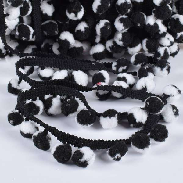 Тесьма с помпонами 10мм черная, черно-белые помпоны