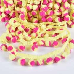 Тесьма с помпонами 10мм лимонная, фиолетово-лимонные помпоны