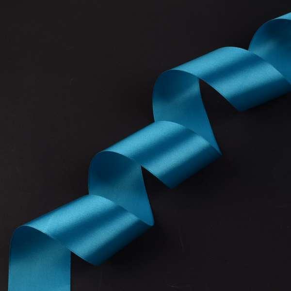 Лента атласная 50мм голубая темная