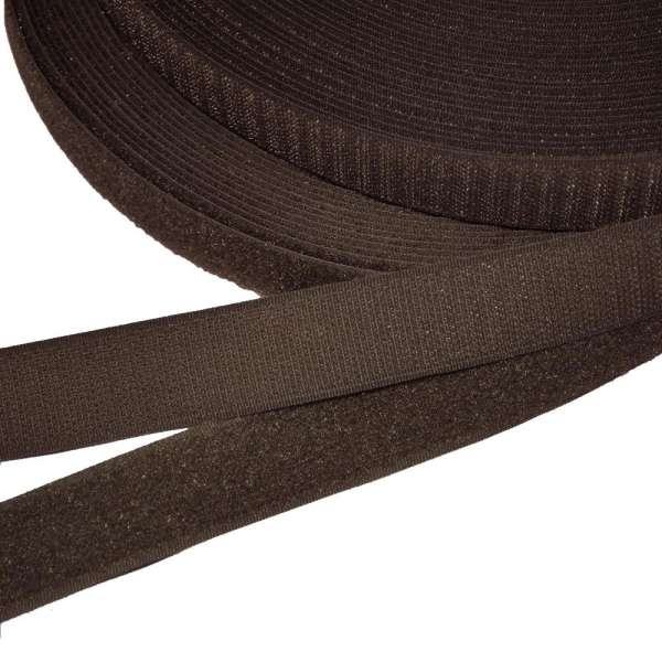 Лента липучка 25мм коричневая темная №18