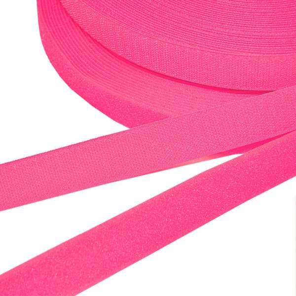 Лента липучка 25мм розовая неон №34