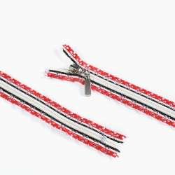 Молния ажурная спиральная М-20 Тип-7 неразъемная бело-красно-черная
