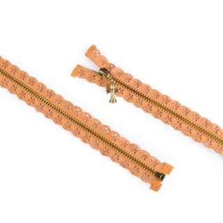 Молния ажурная металл М-70 Тип-7 разъемная оранжевая