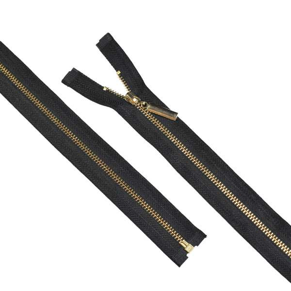 Молния металл М-70 Тип-5 разъемная х/б черная золото