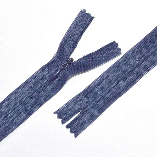 Молния потайная М-24 Тип-3 неразъемная нейлон серо-синяя