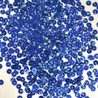 Пайетка голограмма 5мм 25 г синяя