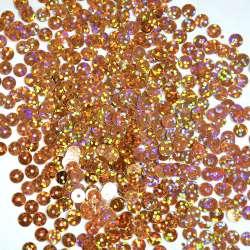 Пайетка голограмма 5мм 25г оранжево-розовая