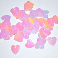Пайетка хамелеон сердце 16х18мм 25 г розовая